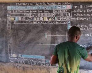 Microsoft подарит компьютер африканскому учителю, которому пришлось рисовать на доске окно Word